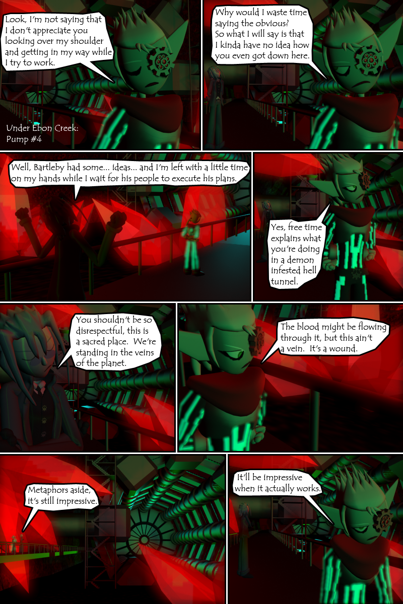 This is as close as this comic gets to Christmas spirit.  Red and Green glowing hell tunnel.